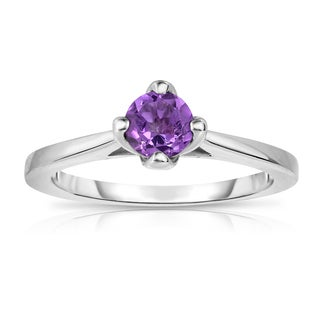Noray Designs Sterling Silver 1/2ct TGW Amethyst 4-prong Solitaire Ring