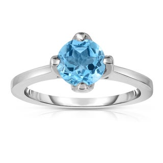 Noray Designs Sterling Silver 1 1/6ct TGW Blue Topaz 4-prong Solitaire Ring