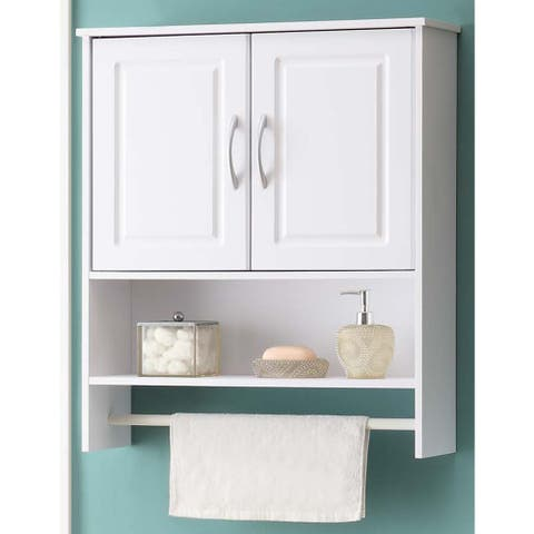 Bathroom White Water Resistant Laminate Wall Cabinet with Towel Rack