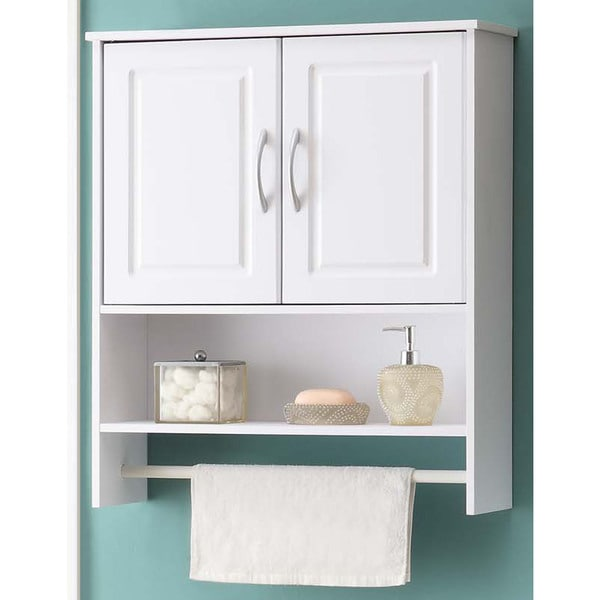 Shop Bathroom White Water Resistant Laminate Wall Cabinet With Towel Rack Free Shipping Today