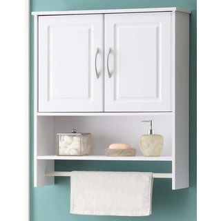 Bathroom White Wood Wall Cabinet with Towel Rack