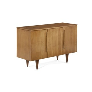 Saloom Flax Finish Maple Wood 3-Door Buffet Sideboard