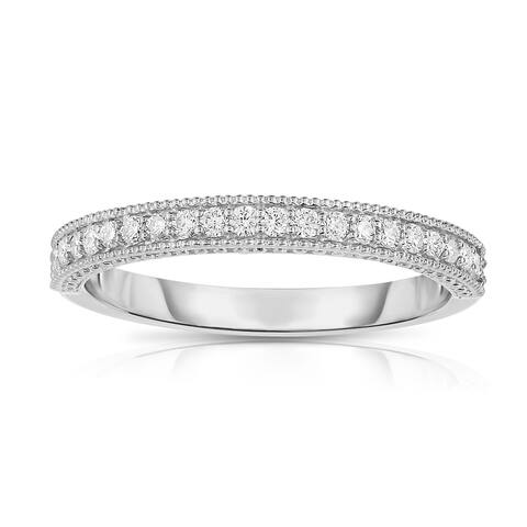 Noray Designs 14k White Gold 1/4ct TDW Diamond Milgrain Wedding Band