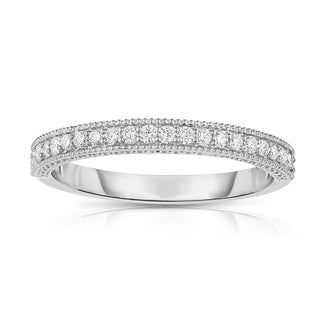 Noray Designs 14k White Gold 1/4ct TDW Diamond Milgrain Wedding Band (G-H, SI1-SI2)