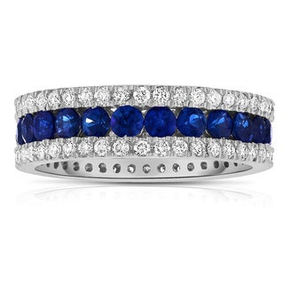 Noray Designs 14k White Gold Blue Sapphire and 1ct TDW Diamond Eternity Ring (G-H, SI1-SI2)