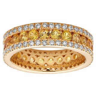 Noray Designs 14k Yellow Gold Yellow Sapphire and 1ct TDW Diamond Eternity Ring (G-H, SI1-SI2)