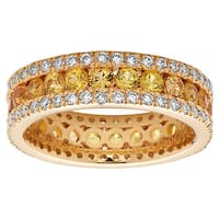 Noray Designs 14k Yellow Gold Yellow Sapphire and 1ct TDW Diamond Eternity Ring
