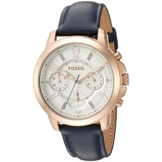 Fossil Men's ES4040 Chronograph Blue Leather Watch