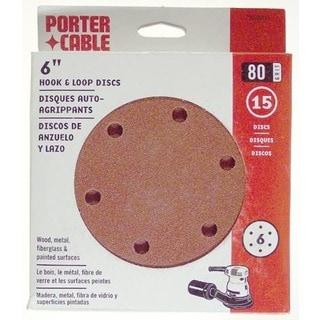 """Porter Cable 736600825 80 Grit Hook & Loop 6"""" Sanding Discs 15-count"""