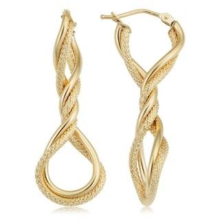 Fremada Italian 14k Yellow Gold Elongated Twisted Hoop Earrings