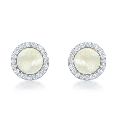 La Preciosa Sterling Silver Mother of Pearl and Cubic Zirconia Round Stud Earrings