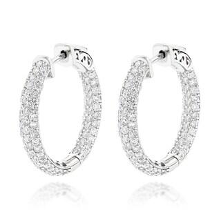 Luxurman 14k Gold 2 7/8ct TDW Inside Out Diamond Hoop Earrings (G-H, SI1-SI2)