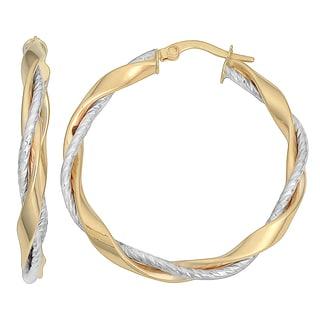 Fremada Italian 14k Two-tone Gold 3x30-mm Twisted Hoop Earrings