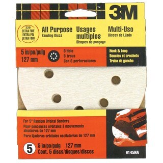 "3M 9145NA 5"" Extra Fine Quick Change Discs for Dustless Sanders 5 Pack"