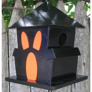 Boo House Black and Orange Plyboard Birdhouse