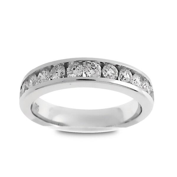 Azaro Jewelry 14k White Gold 3/4ct TDW Round-cut Diamond Halfway Wedding Band