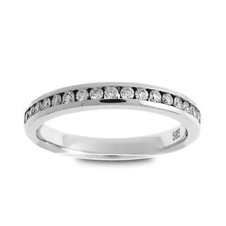 Azaro Jewelry Platinum 1/4ct TDW Round-cut Diamond Halfway Wedding Band (G-H, SI1-SI2)