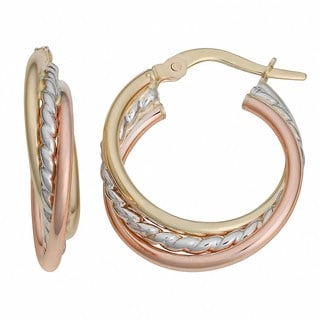 Fremada Italian 14k Tri-color Gold Overlapping Triple Hoop Earrings