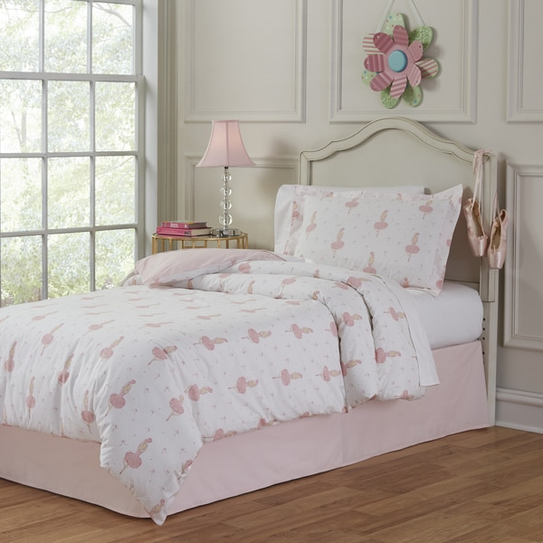Lullaby Bedding Ballerina Cotton Printed 4-piece Comforter Set