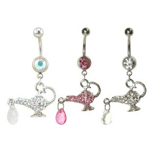 Supreme Jewelry Surgical Steel Cubic Zirconia Genie Bottle Belly Rings (Pack of 3)