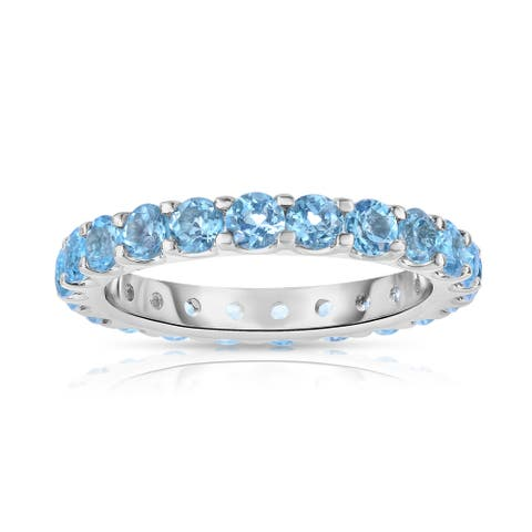 Noray Designs Sterling Silver 2ct TGW Round-cut Blue Topaz Eternity Ring