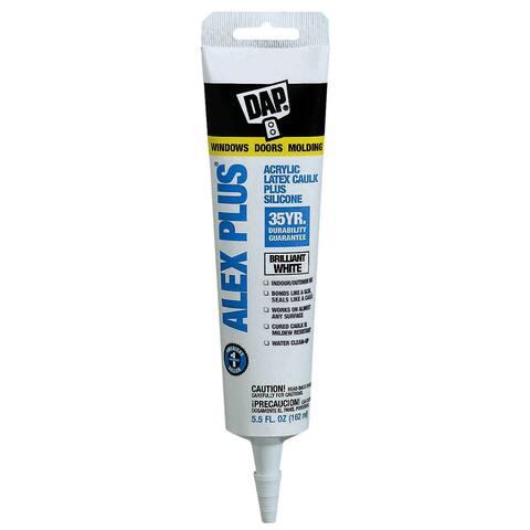 Dap 18128 5.5 Oz White Alex Plus Acrylic Latex Caulk Plus Silicone