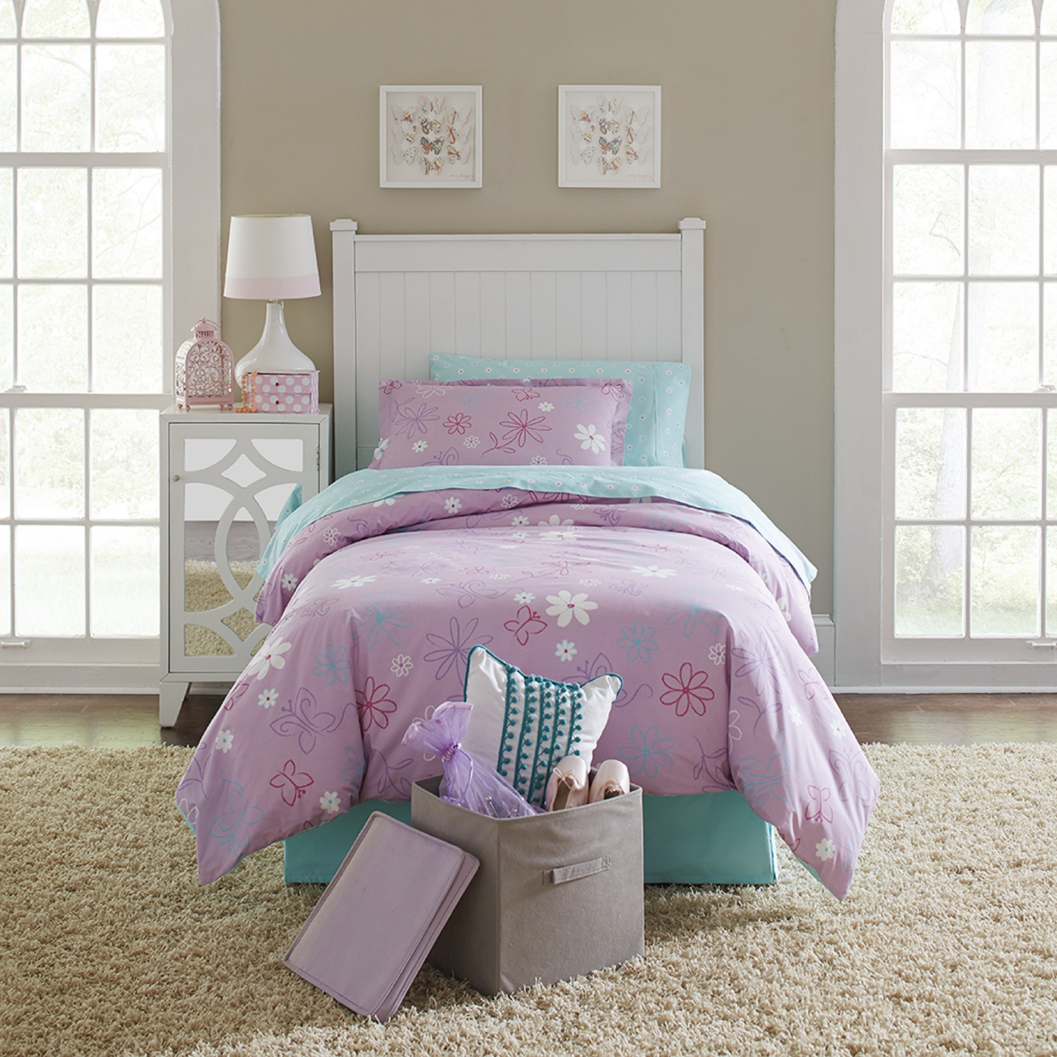 Lullaby Bedding Butterfly Garden Cotton Printed 4-piece C...