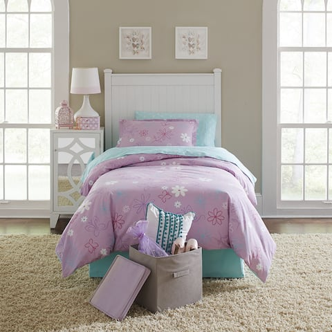 Lullaby Bedding Butterfly Garden Cotton Printed 4-piece Comforter Set