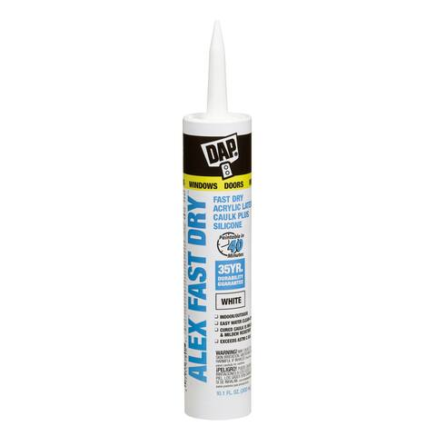 Dap 18425 10.1 Oz White Alex Fast Dry Acrylic Latex Caulk Plus Sil