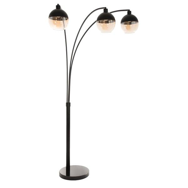 Orson 3-lite Arc Black Metal Floor Lamp