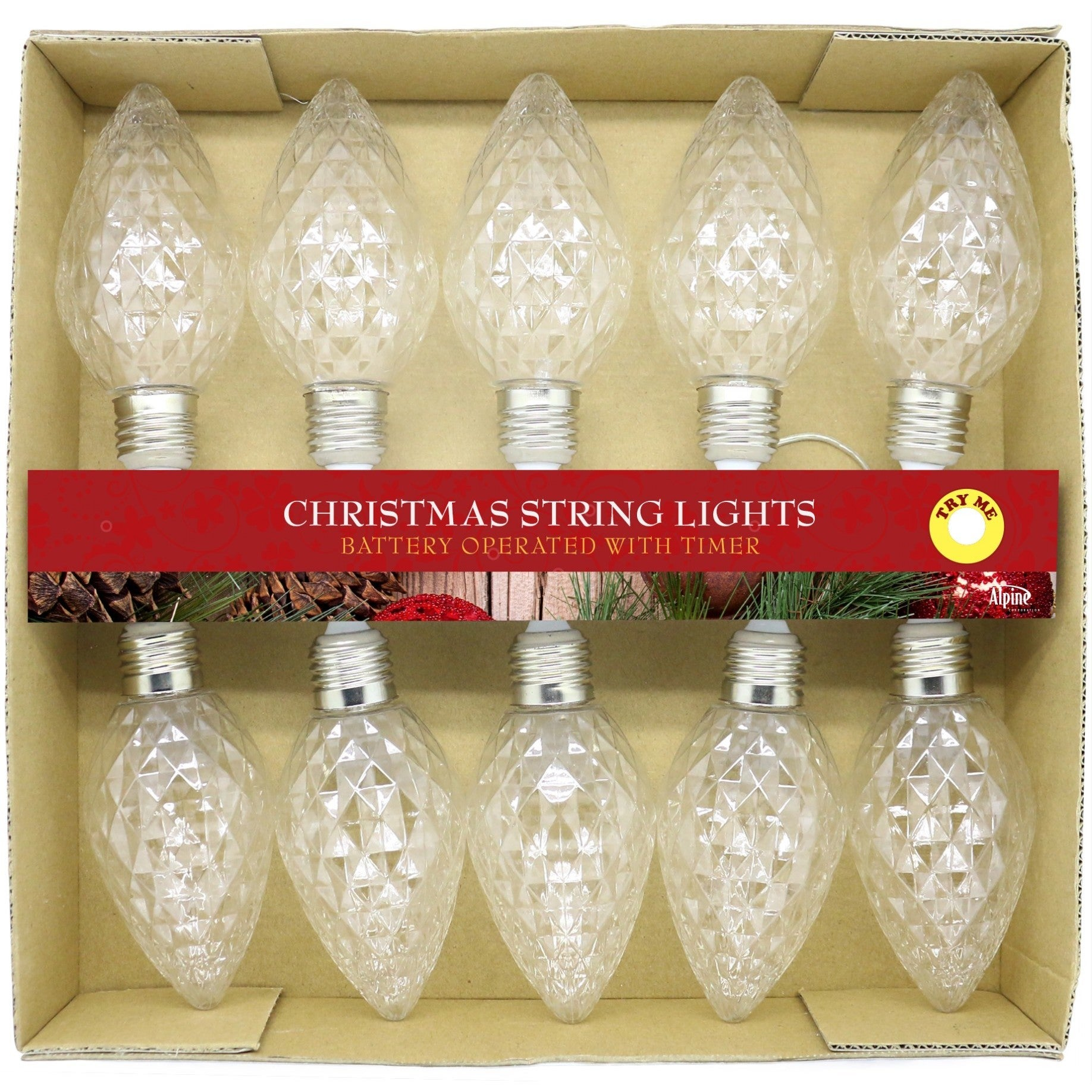 Alpine Clear Faceted Decorative LED 10-bulb Light String ...