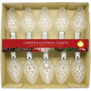 Alpine Clear Faceted Decorative LED 10-bulb Light String