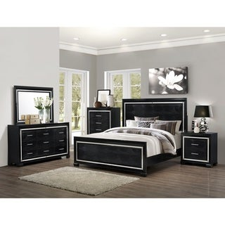 LYKE Home Wooden Lucas King Sized Bed with Mirrored Accents