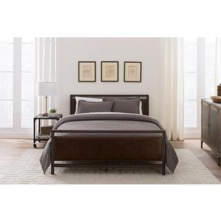 DHP Vintage Brown Metal and Upholstered Queen Bed