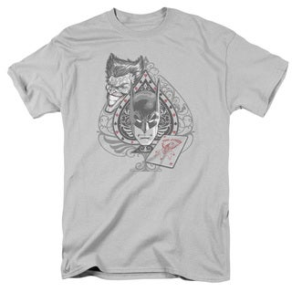 Batman/Batman's Face Short Sleeve Adult T-Shirt 18/1 in Silver