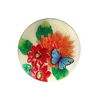 Alpine Glass 18-inch Flower and Butterfly Birdbath