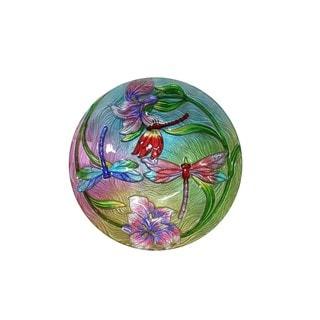 Multicolored Glass 18-inch Flower with Dragonflies Birdbath