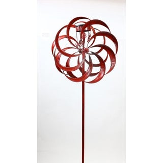 84-inch Red Metal Solar LED Stake Spinner