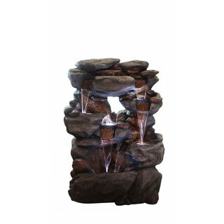 Alpine 5-Tier Rock Fountain w/ LED Lights, 54 Inch Tall