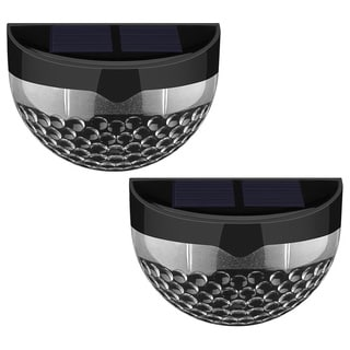 Black 6 LED Light Source Solar-powered Wireless Weatherproof Auto-sensor Outdoor Lights (Set of 2)