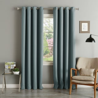 aurora home silvertone grommet top thermal insulated blackout curtain panel pair