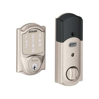 Schlage Sense Smart Deadbolt with Camelot Trim in Satin Nickel (BE479 CAM 619) - Silver/Black