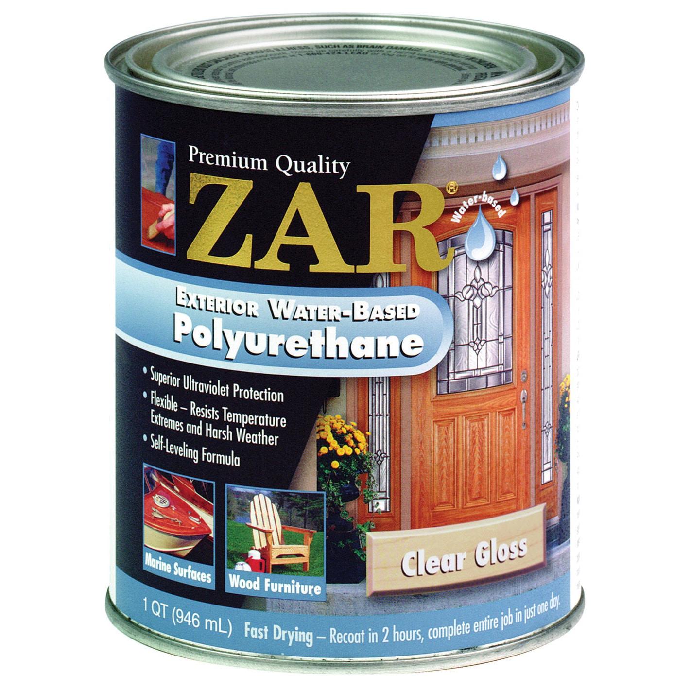 Zar 32612 1 Quart Clear Gloss Zar Exterior Water Based Po...