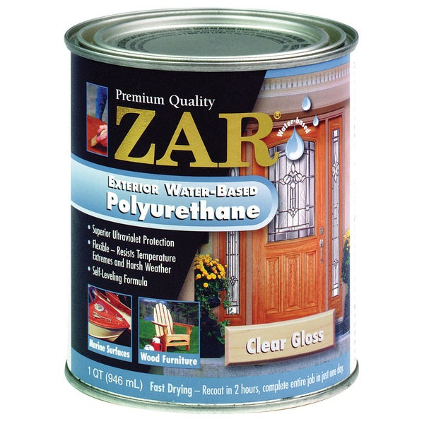 Zar 32612 1 quart clear gloss zar exterior water based for Exterior water based paint