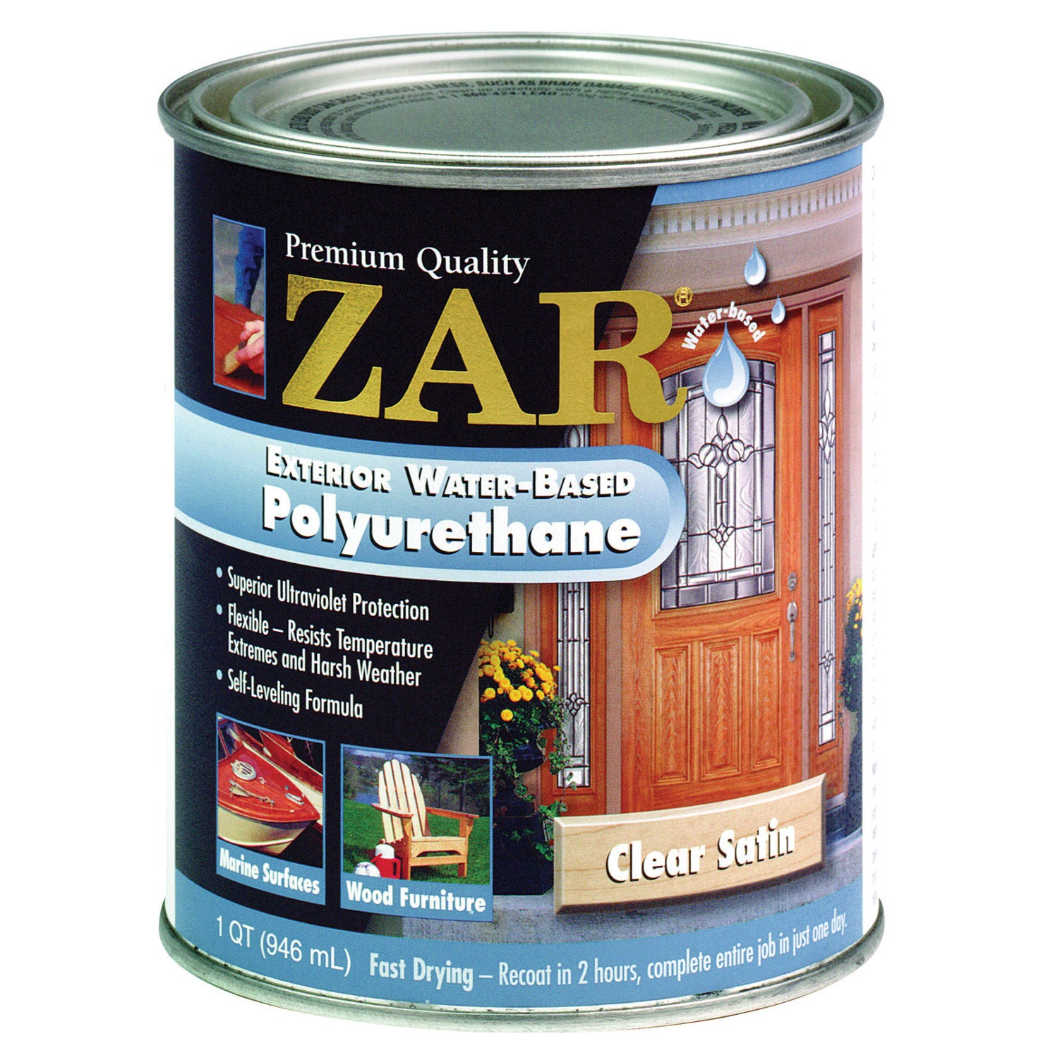 Zar 32712 1 Quart Clear Satin Zar Exterior Water Based Po...