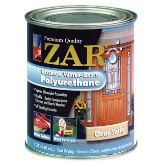 Zar 32712 1 Quart Clear Satin Zar Exterior Water Based Polyurethane
