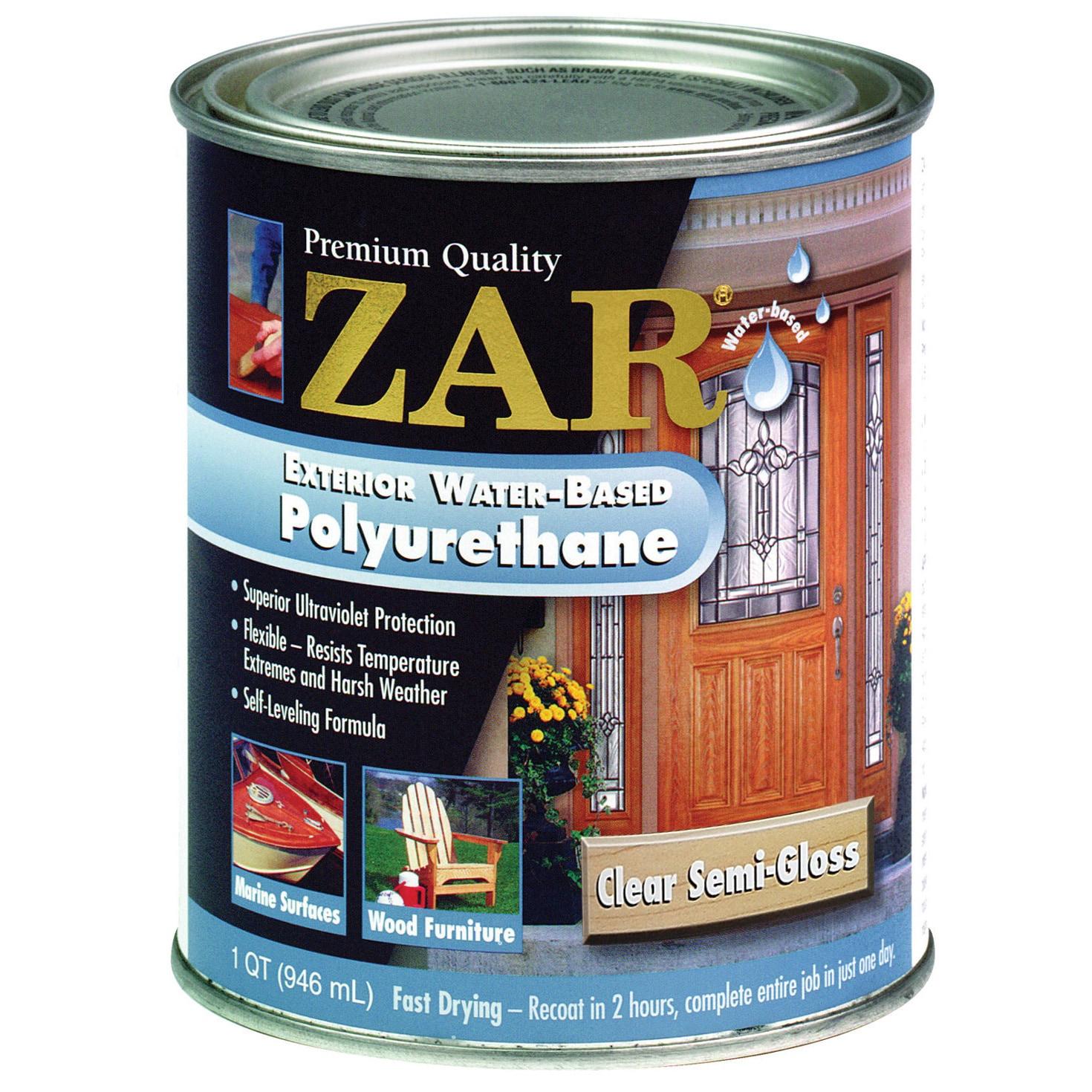 Zar 34212 1 Qt Clr Semi Gls Zar Exterior Water Based Poly...