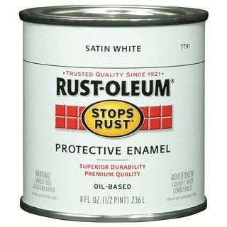 Rustoleum Stops Rust 7791 730 1/2 Pint Satin White Stops Rust Protective Enamel