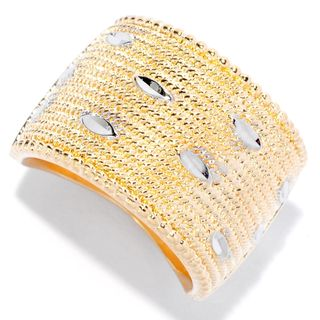 April Venus Yellow Gold Plated Bronze Bead Textured Wide-Band Ring