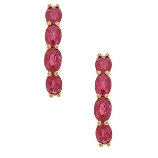 Anika and August 14K Yellow Gold Thai Ruby Earrings
